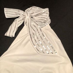 Beautiful White Halter Top With Bling